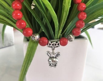 Red Agate bracelet with  love detail bunny antique-silver plated charm/gift for her/tiny and funny