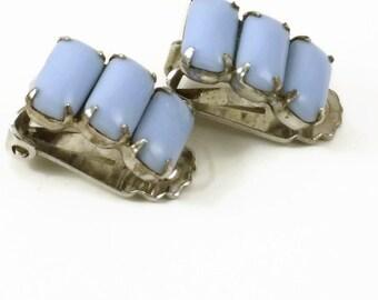 Blue stone clip-on earrings 1950s