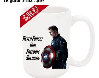 Never Forgot Our Freedom Soldiers Cptn America 15oz Ceramic Coffee Mug