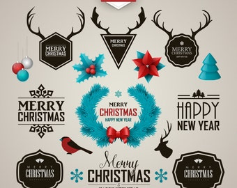 Christmas labels. Christmas clipart. Holiday clip art. Vector graphic. Digital art.