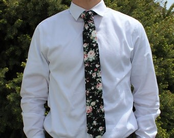 Black Floral Tie; skinny, non-skinny, kid size available