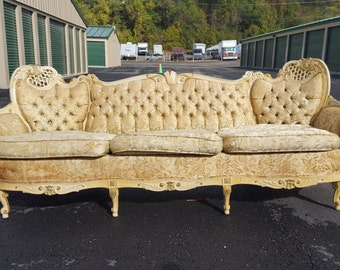 Vintage French Provincial Sofa - Antique Victorian Couch with Ivory and Gold Frame Velvet Fabric! - Ready for customization and upholstery!