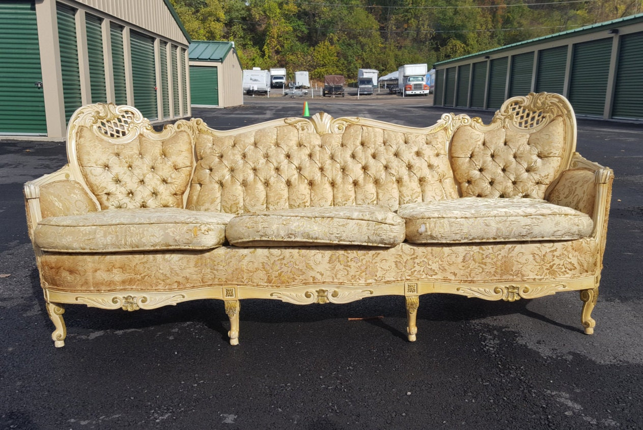 Vintage French Provincial Sofa Antique Victorian Couch With