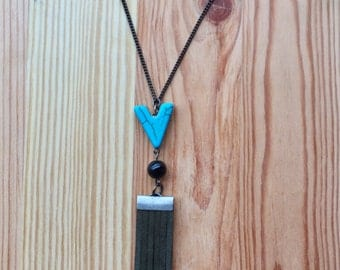 Midnight Grey Fringe + Turquoise drop Necklace