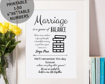 Jenga Sign / Wedding Signs / Reception Signs / Guest Book Sign / Bridal Shower sign / Printable Wedding Signs / INSTANT DOWNLOAD 8x10