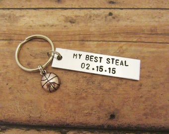 Personalized My Best Steal Basketball Boyfriend Girlfriend Gift Keychain