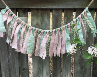 Pink and Mint Garland, Fabric Garland, Banner, Nursery Decor, Shabby Chic