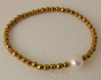Bracelet with Pearl and colored Gravel