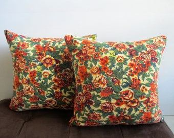 Floral Pillow Covers Throw Pillow Covers 1970s Decor