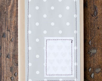 Stitched journal, Gray Hearts, Polka Dot, Moleskine, Lined Journal