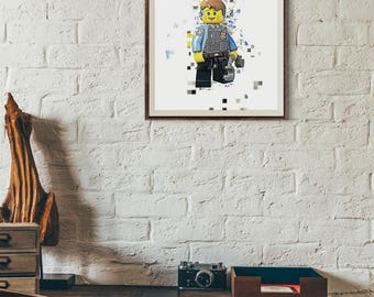 Pixelated - Lego - Lego City - Chase McCain - Police Officer. Instant Download. Digital File. Printable Art. Wall Decoration. 8 x 10 Inches.
