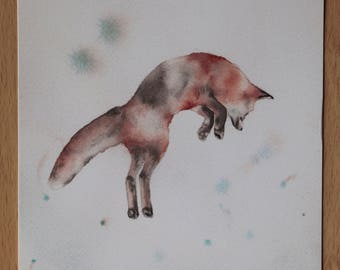 Watercolor fox jumping print