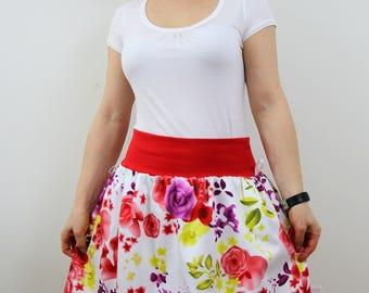 Red flower skirt for women, bubble skirt, summer skirt, boho skirt, cotton skirt, white skirt, midi skirt, elastic waist, balloon skirt
