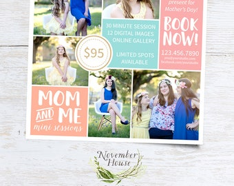 Mother's Day Mini Session Template, Mom and Me Mini Sessions, Mommy and Me, Photography Marketing, Photoshop Template, Instant Download