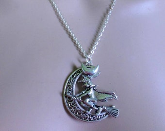 witch pagan wiccan jewelry necklace pendant moon