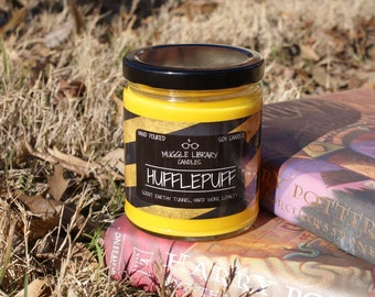 Hufflepuff - inspired by Harry Potter - hand poured soy candle - 9oz glass jar