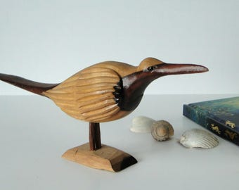 Carved, Wooden, Bird, Figurine, Statuette, Vintage, Home Decor