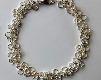 Silver Plated Chainmaille Bracelet - Shaggy Loop