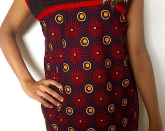 Red Orange and Black Indian Kurta Women's Tunic Top with Free Set of Bangles