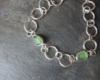 Silver bracelet with sea-glass