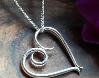 Sterling Silver, Large Heart Pendant