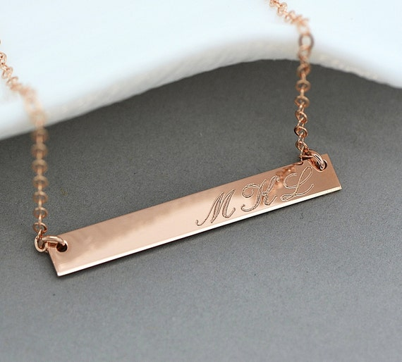 Rose gold bar necklace monogram bar necklace personalized for Rose gold personalized jewelry