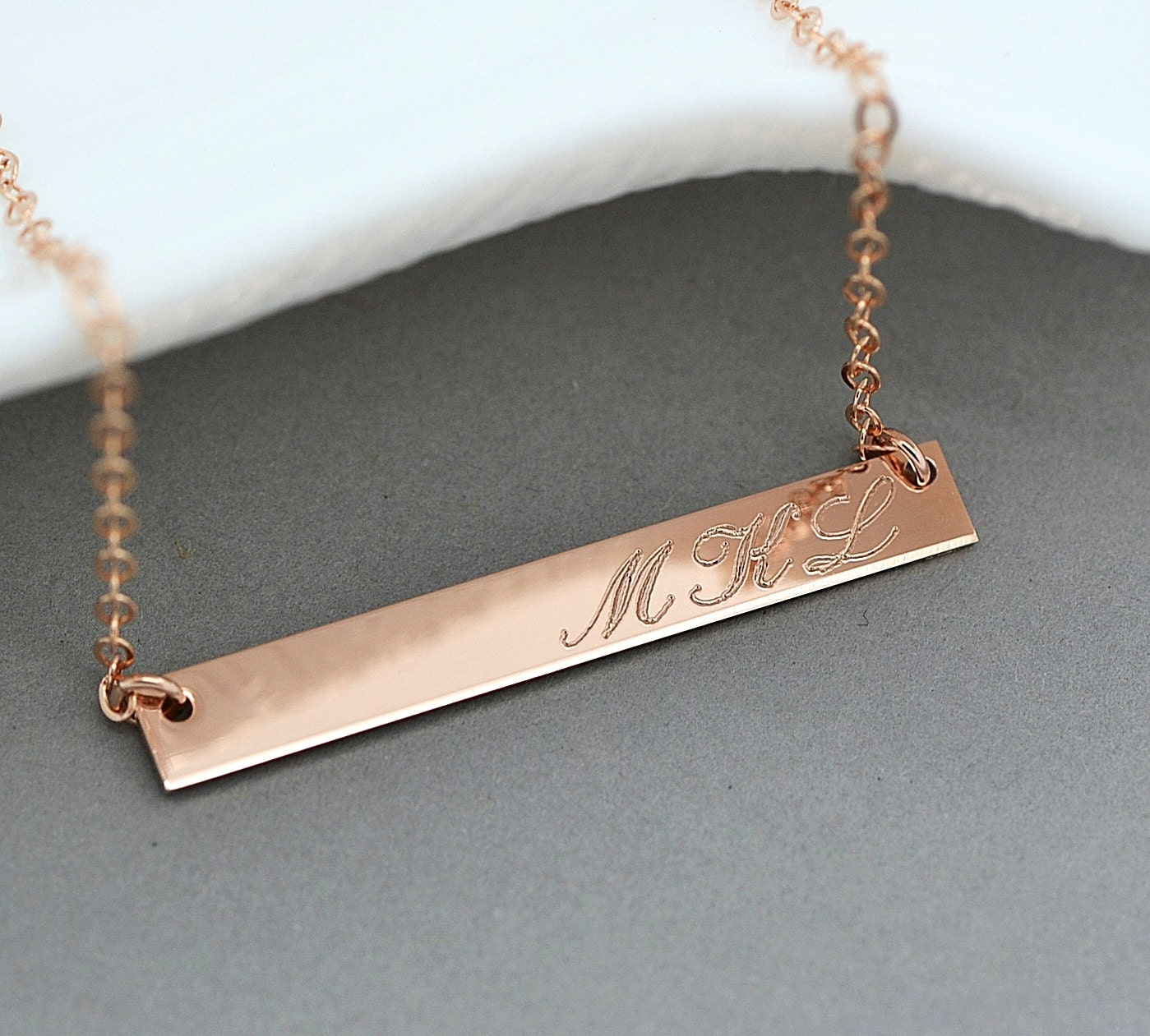 Rose Gold Bar Necklace Monogram Bar Necklace Personalized
