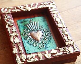 Milagro Shadow Box-Large Patina Milagro-Ex Voto-Wall Decor-Meditation or Sacred Space