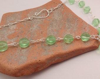Green Czech Glass Bead and Swarovski Crystal Beaded Y Choker Necklace