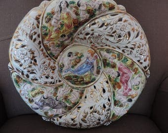 Large plate-Italy - slip - painted hand - Collection -.