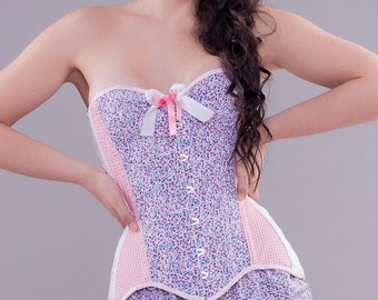 Pink lilac white overbust corset Style Douce Fleur Sample sale Sweet pinup corset Flowers print tightlacing corset Pink gingham check corset