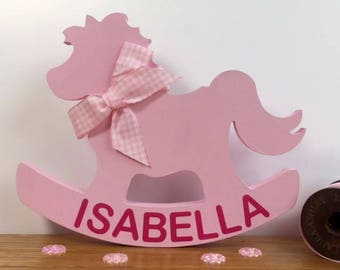 Personalised Baby Gift - Rocking Horse - New Baby Girl Gift - Baby Girl Gift - New Baby Gift - Baby Shower Gift - Personalized Baby Gift
