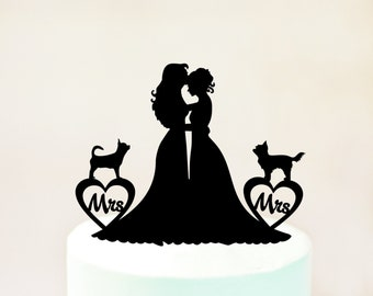Lesbian cake topper with two dogs,Lesbian with dogs,Lesbian wedding cake topper,mrs and mrs cake topper,lesbian dogs,dogs cake topper (1071)