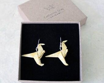 Yellow Dinosaur origami earrings, fair trade lokta paper jewellery, jewelry dangly drop dino earring