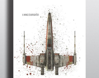 Star Wars Poster Print | Watercolour | Digital Download | X-wing Starfighter | Wall Art | Videogame Art | Star Wars Vehicle | Minimalist