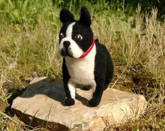 felted Boston Terrier, felted dog, dog portrait sculpture from felt, soft wool, felt dog, Pet Memorial, memory, character, pet,