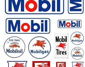 1:87 HO scale model Mobile Oil gasoline station gas signs