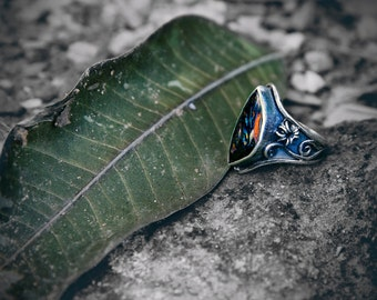 Australian Boulder Opal and Silver Ring