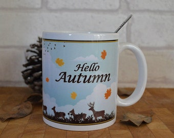 Hello Autumn Mug, Autumn Mug, Seasonal Mug, Full Wrap