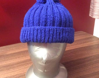 Child's Bobble hat, hand knitted, blue