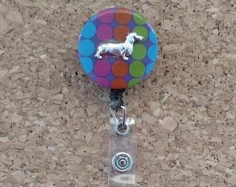 Dachshund With Bright Dots - Retractable Card/Badge Holder