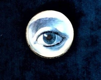 Embroidered hand illustration eye ring anatomical vintage