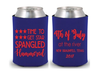 Personalized Huggers, Monogrammed, Custom, Party, Collapsible Neoprene, Beer, 4th of July