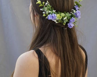 Flower crown, bridal flower headpiece, bridal flower comb, greenery crown, floral crown wedding