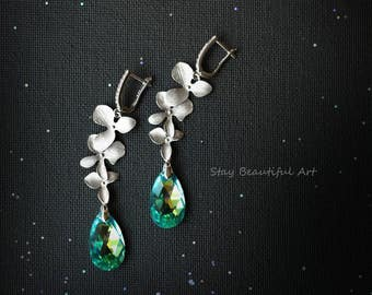 Silver Swarovski Earrings Swarovski Crystal Jewellery Teardrop Dangle Drop Earrings