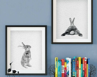 Set of 2- Rabbit Print, Peekaboo Rabbit, Rabbit Wall Art, Rabbit Baby Animal, Rabbit Download, Rabbit Nursery Decor, Rabbit scandinavian