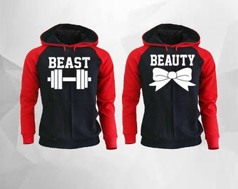 Beast and Beauty Couple Matching Raglan Hoodies Beast and Beauty Hoodies Pärchen Pullover Couple Hoodies Couples Sweatshirt Couple Matching