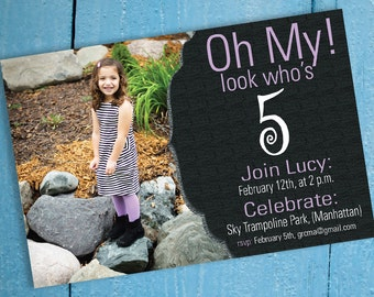 Personalized Creative Birthday Invitation, FIve Years Old. Oh My! Digital Download, Custom, Print at Home