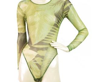 Gianfranco Ferre Green Jungle leotard sheer Body Suit Longsleeve - Sz40