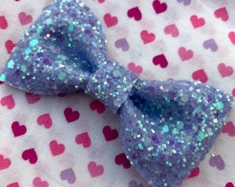 Light Purple Glitter Hair Bow